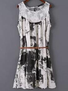 Black Sleeveless Lace Floral Loose Dress
