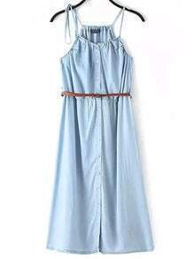 Blue Spaghetti Strap Buttons Denim Dress