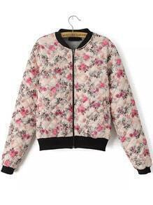 Pink Long Sleeve Floral Crop Coat