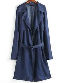 Navy Lapel Tie-waist Trench Coat