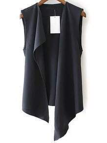 Black Sleeveless Casual Asymmetrical Vest