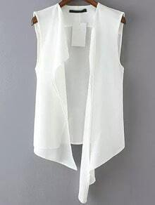 White Sleeveless Casual Asymmetrical Vest