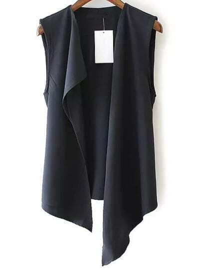 Black Sleeveless Casual Asymmetrical Vest