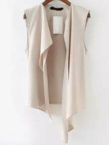 Beige Sleeveless Casual Asymmetrical Vest