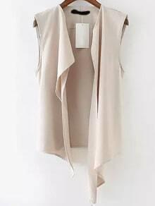 Beige Sleeveless Casual Asymmetrical Vest