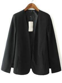 Black Long Sleeve Casual Cape Blazer