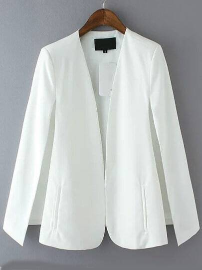 White Long Sleeve Casual Cape Blazer