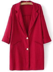 Red Lapel Buttons Pockets Loose Blazer