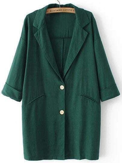 Green Lapel Buttons Pockets Loose Blazer pictures