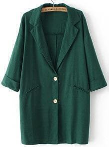 Green Lapel Buttons Pockets Loose Blazer