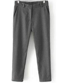 Grey Vertical Stripe Loose Pant