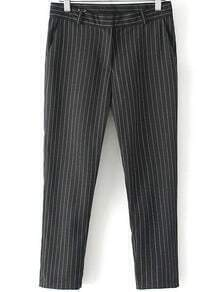 Black Vertical Stripe Loose Pant