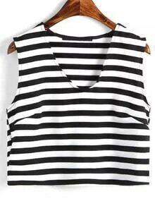 Black White V Neck Striped Crop Tank Top