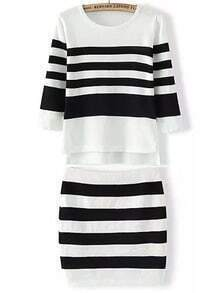 White Black Round Neck Striped Knit Top With Skirt