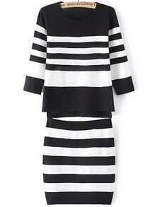 Black White Round Neck Striped Knit Top With Skirt