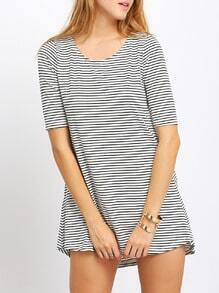 Dip Hem Striped With Pocket Top