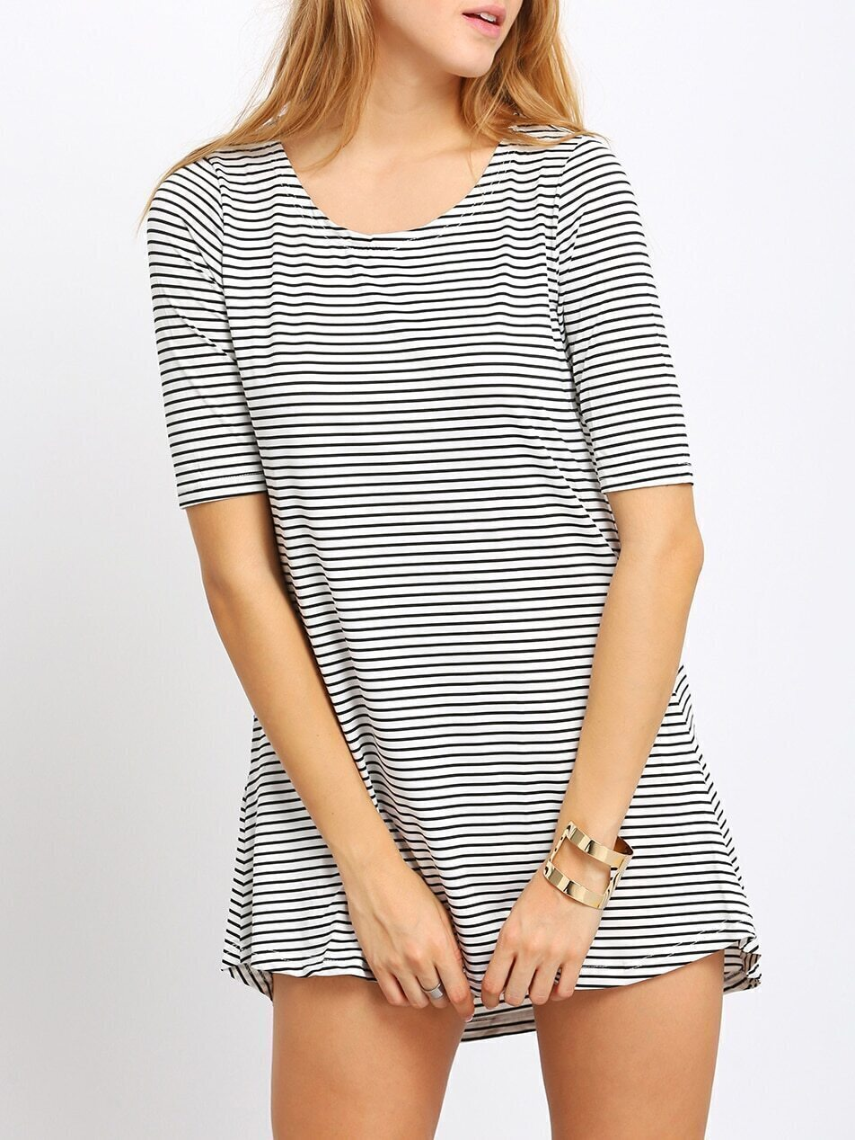Dip Hem Striped With Pocket T-Shirts