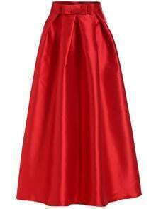 Bow Embellished Flare Long Red Skirt