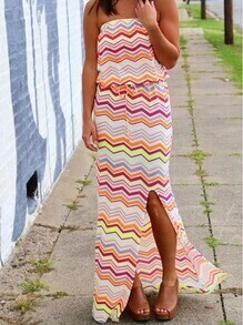 Strapless Zigzag Print Boho Split Sun Beach Dress