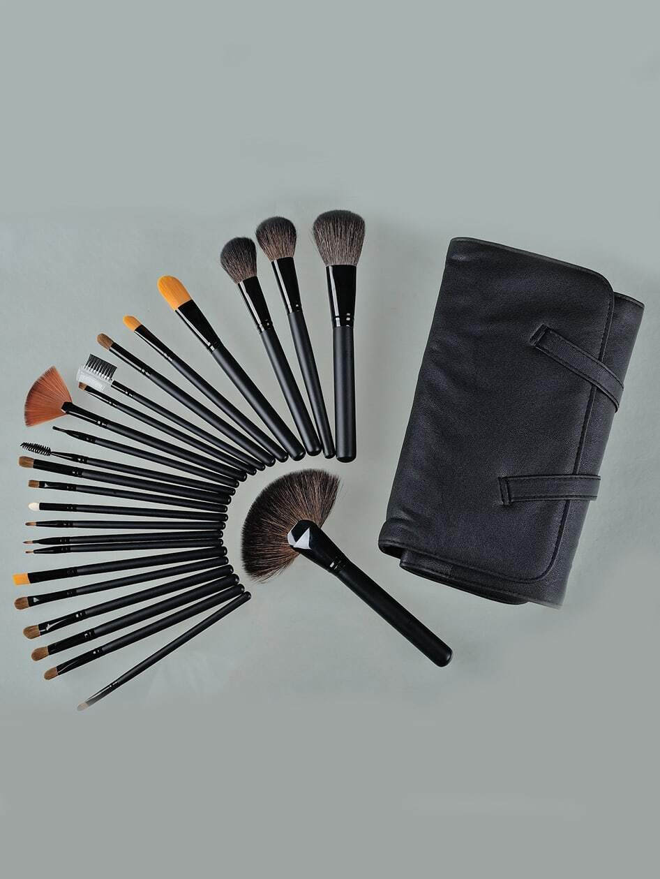 24pcs Professional Cosmetic Makeup Brush Set Kit with Bag-Black