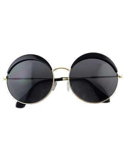 Round Black Oversized Sunglasses
