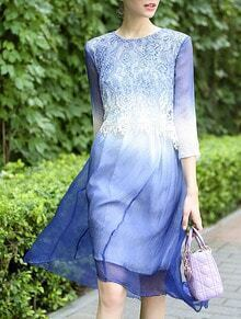 Blue Round Neck Length Sleeve High Low Dress