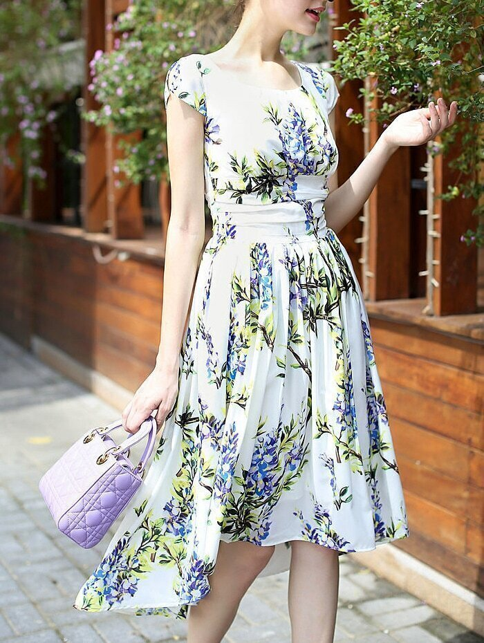 White Round Neck Cap Sleeve High Low Print Dress