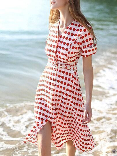 Red White V Neck Short Sleeve Polka Dot Drawstring Dress