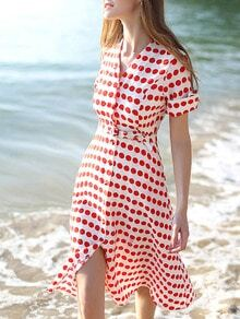 Red White V Neck Short Sleeve Polka Dot Drawstring Dress