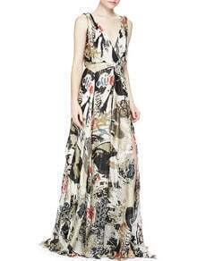 Multicolor V Neck Backless Print Maxi Dress