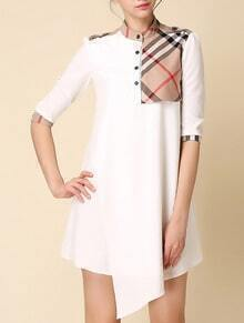 White Stand Collar Half Sleeve Check Dress