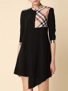 Black Stand Collar Half Sleeve Check Dress