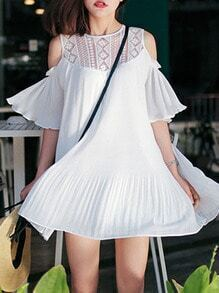 White Short Sleeve Off The Shoulder With Lace Dress