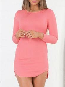 Pink Long Sleeve Zipper Bodycon Dress