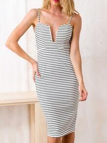 Black White Spaghetti Strap Backless Striped Dress