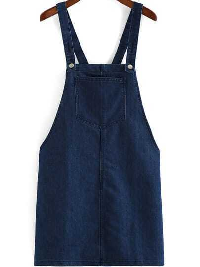 Navy Strap Pocket Denim Pinafore Dress
