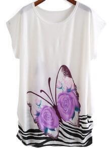 White Round Neck Butterfly Print Dress