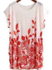 Red White Round Neck Floral Loose Dress