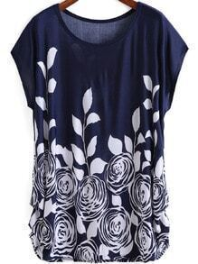 Blue White Round Neck Floral Loose Dress