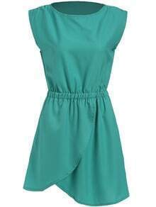 Green Round Neck Sleeveless Cross Chiffon Dress