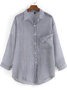 Grey White Lapel Vertical Stripe Pockets Blouse