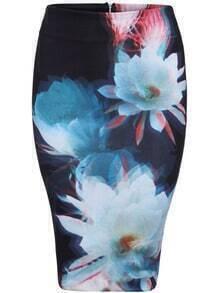 Multicolor Slim Floral Bodycon Skirt