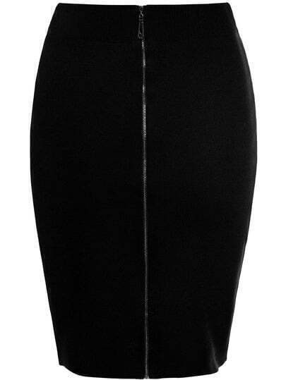 Black Zipper Bodycon Skirt