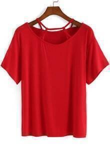 Red Spaghetti Strap Short Sleeve Loose T-Shirt