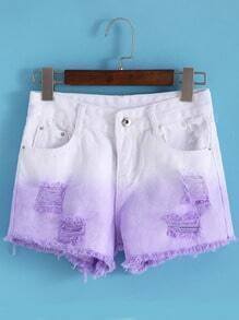 Ripped Fringe Denim Color-block Shorts