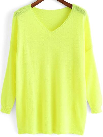 Neon Yellow V Neck Loose Knit T-shirt
