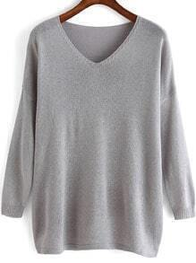 Grey V Neck Loose Knit Sweater