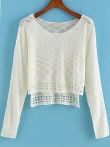 Beige Long Sleeve Knit Crop Sweater