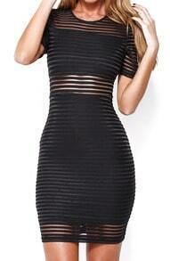Back Zipper Sheer Mesh Bodycon Dress