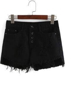 Black Ripped Buttons Fringe Denim Shorts